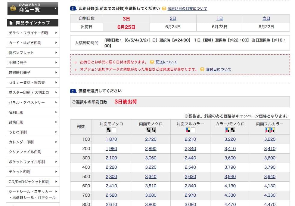 ネット印刷のスプリント価格表