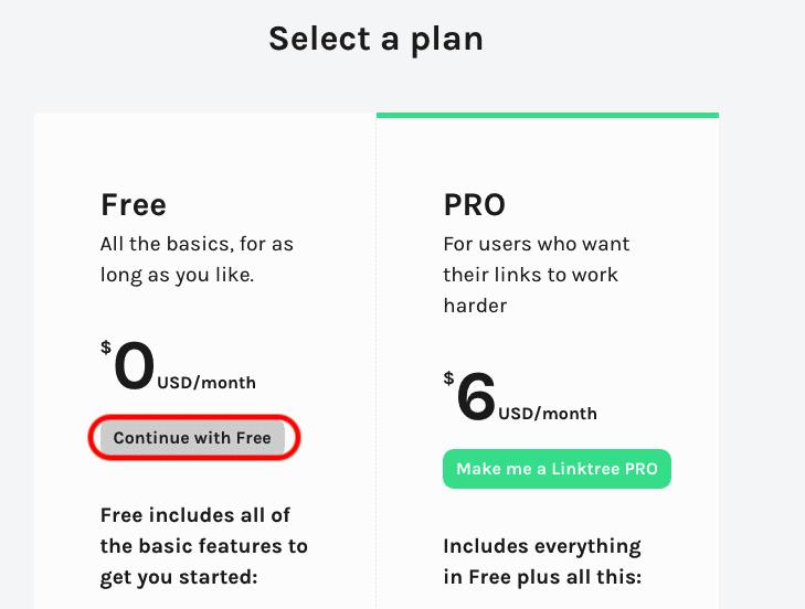 無料プランを利用します。 $0の下にある[ Continue with Free ] をクリック。