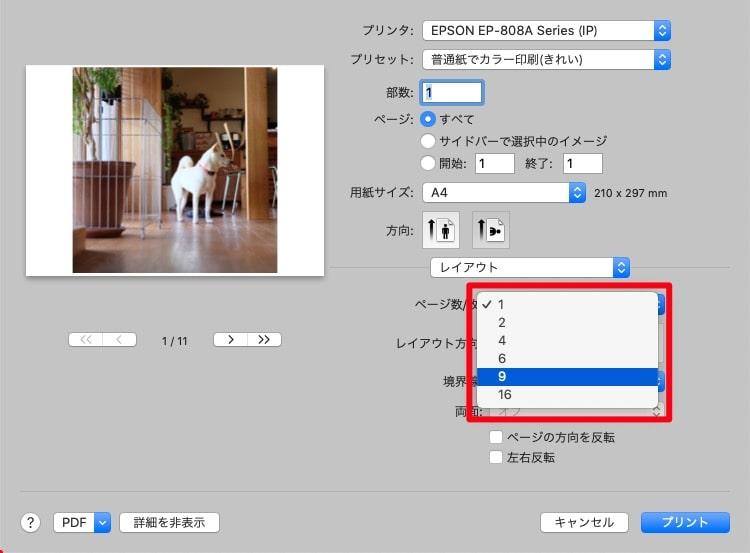 Macで複数写真をA4用紙1枚に並べて印刷する方法ー「ページ数/枚」のプルダウンメニューから1枚の用紙に画像を何枚並べるのか択します。