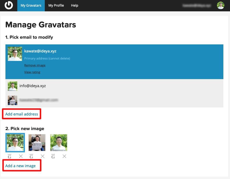 My Gravatar画面より「Add email address」を選択し新しいメールアドレスを登録します。「Add a new image」で登録した画像をそれぞれのメールアドレスに紐づけます