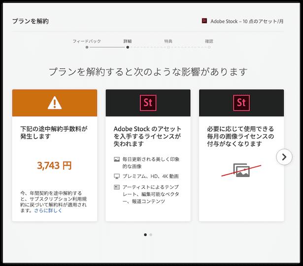 Adobestockを解約手数料0円で解約する方法-すると解約手数料が値引きされています。半額になりました。