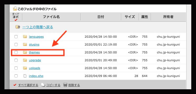 functions.phpで画面が真っ白になった場合のサーバー別対処法 テーマの入っているthemesフォルダをクリック。