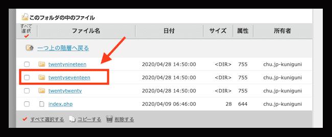 functions.phpで画面が真っ白になった場合のサーバー別対処法 利用中のテーマ名フォルダをクリック。