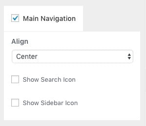 今回は「Search Icon」と「Sidebar Icon」のチェックを外しておきます